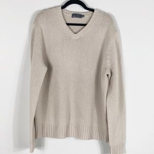 Vince V-Neck Knit Sweater Oatmeal Color, XL
